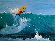 Showcase of surf art by surf artist Hannah Vokey on Club Of The Waves Vintage Tiki, Seascape Art, Water Art, Surf Art, Surfs Up, People Art, Art Paintings, Photo Art, Waves