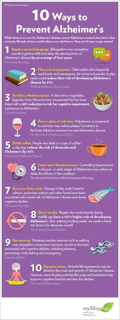 10 Ways to Prevent Alzheimer's #alzheimers #tgen #mindcrowd www.mindcrowd.orghttp://mysilverage.thebegroup.org/Healthy-Aging/10-Ways-to-Lower-Your-Alzheimers-Risk