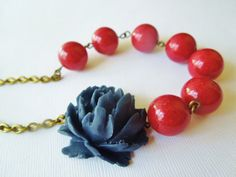 Necklace Nautical Navy Rose and Red Jade Stone by TheSilverDog