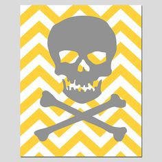 Chevron Skull and Crossbones  8 x 10 Silhouette Print  by Tessyla, $20.00