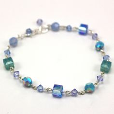 Beachy Keen Circles & Squares Bracelet - pretty shades of blues