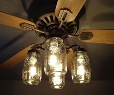 Update your fan with an original Mason Jar Ceiling Fan light kit you won't see anywhere else!. Farmhouse, country, cottage or rustic cabin. It fits them all. #FarmhouseLamp