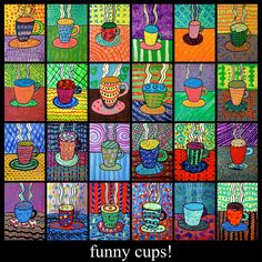 CONTINUITY IN COLOR--------------elementary art lesson grade coffee cups tempera paint pattern color. Would love to find this template to make a piece of art for my kitchen!Art lessons for children that will teach them how exactly to draw, craft and Winter Art Projects, School Art Projects, Art School, School Auction, Winter Project, Square 1 Art, Arte Elemental, 4th Grade Art, 3rd Grade Art Lesson