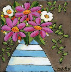 Les 3 marguerites roses par Isabelle Malo - Acrylique sur toile - 3 roses flowers