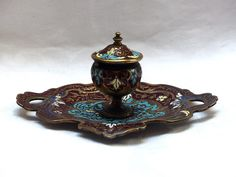 Cloisonne bronze INKWELL in SUPERB CONDITION (RUSSIAN STYLE) dating from the last part of the 19th Century. Very nice work andexcellent condition. With 4 feet in bronze.NO defaults (see photos). Oustanding work without default, with its little pot for the ink, in glass (very well preserved). | eBay!