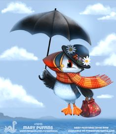 Daily Paint 1845# Mary Puffins by Cryptid-Creations