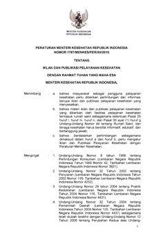 Permenkes 1787 Th 2010 Iklan Dan Publikasi Pelayanan Kesehatan - Documents