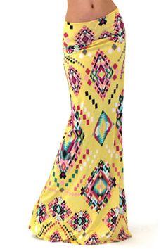 Geometric Print Packet Buttocks Long Fishtail Skirt