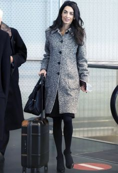 Amal Clooney Elevates Her Airport Style in a Grey Tweed Coat #InStyle