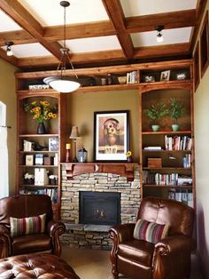 just the afters: low-cost fireplace makeovers- Floor-to-ceiling overhaul for this craftsman-style living space—all the better to enjoy your warm fire with, my dear.