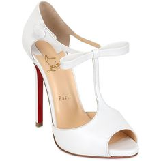 CHRISTIAN LOUBOUTIN 120mm Belly Nodo Leather Open Toe Pumps - White ($915) ❤ liked on Polyvore featuring shoes, pumps, heels, christian louboutin, sapatos, white leather shoes, white platform shoes, heels & pumps, white heel pumps и leather sole shoes