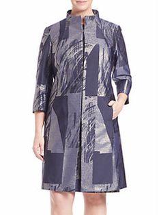 Lafayette 148 New York, Plus Size - Kamina Prism Jacquard Coat