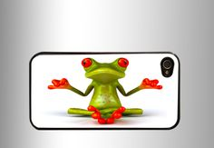 Yoga green Frog iPhone 4 Case, iPhone 4s Case, iPhone 5 case, Samsung GALAXY S III #iPhone #Etsy