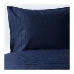 IKEA - ALVINE STRÅ, Housse de couette et taie, 150x200/65x65 cm, , Le coton peigné confère au linge de lit un toucher très doux et une surface lisse agréable contre la peau.Linge de lit tissé très fin et très serrépour une qualité très douce et résistante.Les plis cousus sur le dessusde la housse de couette créent un motif décoratif.Les boutons-pression cachés maintiennent la couette bien en place.