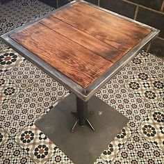 RUSTIC URBAN INDUSTRIAL STEEL BAR CAFE BISTRO RESTAURANT OR HOME TABLE