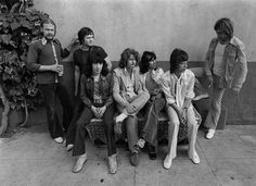 Stones on the Exile Tour, 1972. From left, Jim Price, Bobby Keys, Bill Wyman, Mick Taylor, Keith Richards, Mick Jagger, Charlie Watts.