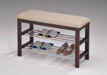 Buy Inroom Furniture Designs Shoe rack bedroom hallway bench Cherry wood - Beige fabric Finish at UnbeatableSale Padded Storage Bench, Shoe Storage, Storage Spaces, Storage Ideas, Entryway Storage, Storage Baskets, Storage Shelves, Storage Solutions, Bench Furniture