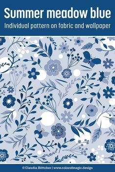 Seamless repeat pattern of blue and white flowers and branches on light blue background. Available at Spoonflower on fabric, wallpaper and a variety of home decor items. Fabric Shop, Custom Fabric, White And Blue Flowers, Monochrome Pattern, Color Magic, Light Blue Background, Sewing Ideas, Sewing Projects