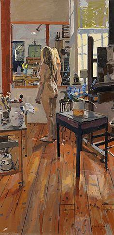 Ken Howard nació en Londres. Estudió en el Colegio Hornsey de Arte (1949-1953) y en el Royal College of Art (1955-1958). En 1958 ganó u... Ken Howard, Nude Portrait, Exotic Art, Art Model, Illustrations And Posters, Figure Painting, Figurative Art, Painting Techniques, Art Images