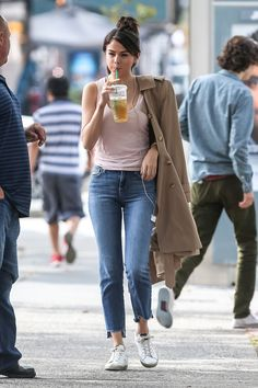 Selena Gomez | Cool Girl Vibes | Jacket Off the Shoulders | High-Waisted Jeans