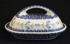 "Polish Pottery Butter Dish in the ""Trailing Lily"" Pattern"