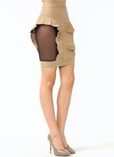 Mesh Inset Ruffle Pencil Skirt