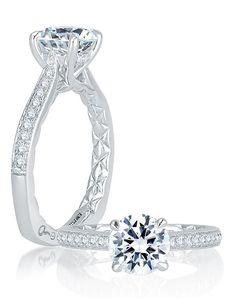 Four Prong Diamond Engagement Ring | A.JAFFE MES743Q | http://trib.al/0To9AcK