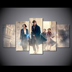 Style Your Home Today With This Amazing 5 Panel Fantastic Beasts And Where To Find Them Framed Wall Canvas Art For $99.00  Discover more canvas selection here http://www.octotreasures.com  If you want to create a customized canvas by printing your own pictures or photos, please contact us.