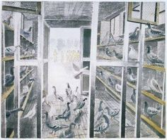 'Corporal Stediford's Mobile Pigeon Loft' by Eric Ravilious.  (During World War Two, thousands of lives were saved by pigeons flying home bearing the co-ordinates of a crash site, and every bomber crew carried one).