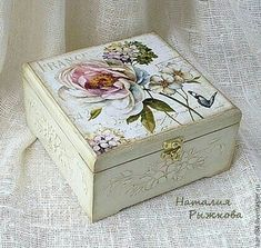 Buy a box Flowers in France - white, box, decoupage box, wooden box, box for small items Decoupage Vintage, Decoupage Box, Altered Boxes, Altered Art, Fabric Painting, Painting On Wood, Painted Boxes, Hand Painted, Shabby Chic Boxes