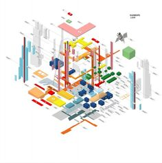 CCTV by OMA / Ole Scheeren and Rem Koolhaas. Exploded axonometric diagram showing programmatic elements. Oma Architecture, Architecture Program, Architecture Graphics, Architecture Drawings, Architecture Portfolio, Architecture Diagrams, Architecture Posters, Architecture Models, Rem Koolhaas