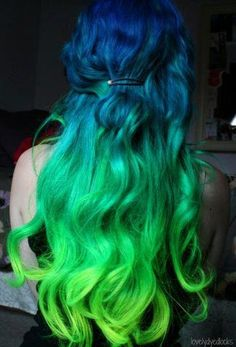 A lovely blue and green gradient color on long hair. My hair might look something like this when it grows out enough.