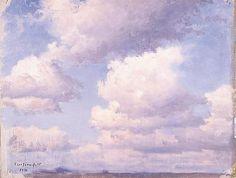 """""""Clouds"""", Eero Järnefelt (1863–1937) - Pilviä, 1892 - Erityisesti Koli-maisemistaan ja kaskiaiheistaan tunnettua Järnefeltiä kiehtoivat myös poutapilvien kuohkeus (teostietokannassa on 203 kpl pilviaiheista teosta) ja kalliomäntyjen jylhät piirteet (211 kpl). Pohjois-Karjalan Koli-vaaran maisemia on tiedossa 122 kpl. Rakkaat perheenjäsenet olivat niin ikään usein taiteilijan malleina (313 kpl)."""