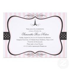 abba121d1cb7 Eiffel Tower Paris Bridal Shower Announcements Paris Bridal Shower