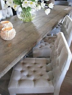 love the rustic table and elegant buttoned chairs