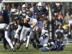 PENN STATE – FOOTBALL 2013 – Penn State running back Zach Zwinak leaps over offensive tackle Donovan Smith during a first quarter rumble against Purdue last season. Zwinak ran for 149 yards and three touchdowns against the Boilermakers. Football 2013, Football Season, Pennsylvania State University, Nittany Lion, Latest Games, Running Back, Social Events, Athletics