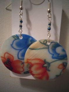 Painted Shells Disk Earrings
