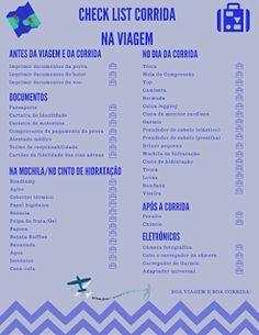 Viajar correndo: Check list de itens para corridas em viagem #viajarcorrendo #diy #corrida #viagem