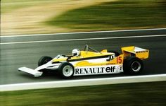 Alain Prost driving a Renault to win the 1981 Dutch Grand Prix.