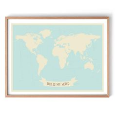 This Is My World Map Art Print - 120x80cm / White Frame