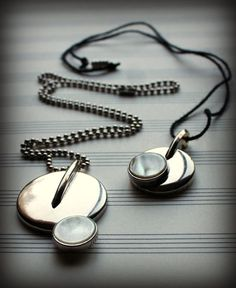 Recycled Saxophone Key Round Silver Mother of Pearl Pendant by UpBeatAccents on Etsy