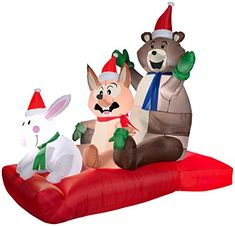Gemmy Airblown Inflatable Animated Woodland Critters on a Sled - Indoor Outdoor Holiday Decoration, Tall x Long x Wide Animated Christmas Decorations, Outside Christmas Decorations, Christmas Yard Art, Cone Christmas Trees, Snowman Decorations, Holiday Decor, Yard Decorations, Christmas Inflatables, Halloween Inflatables