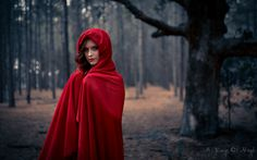 red riding hood photoshoot done by a frame of mind media  woods hood cape fairytales creative