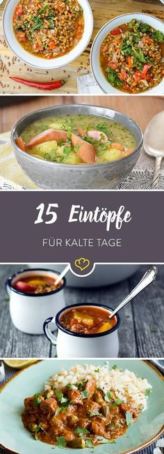 Draußen kühles Schmuddelwetter, drinnen dampfend heißes Comfort Food zum Ausl… Outside, cool and grubby weather, inside steaming, hot comfort food for spooning. With these 15 stews the autumn blues will leave you completely cold. Soup Recipes, Cooking Recipes, Healthy Recipes, Protein Recipes, Guisado, Vegetable Dishes, Soul Food, Food Inspiration, Food Porn