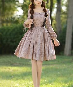 Pink / Gray-Blue dress cotton dress women dress fashion dress Long sleeve dress Lolita dress---WD155