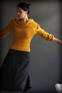 Knitted by 100% handspun wool yarn & love    3/4 sleeves    In the picture:  Size: small  color: mustard  material: 100%w wool