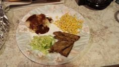 Supper: Roast beef, mashed potatoes, corn and salad