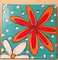 Orange and white flowers with blue background painting on canvas
