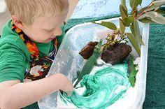 Sensory play - slime swamp - too cool! Activities for preschoolers while older children #homeschool