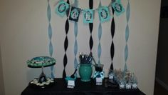 Damask/tiffany green candy buffet